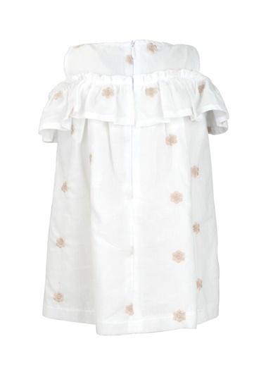 Mininio Beyaz Çiçek Nakışlı Düşük Kollu Elbise (9ay-4yaş) Beyaz Çiçek Nakışlı Düşük Kollu Elbise (9ay-4yaş) Beyaz